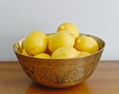 Large Brass Bowl Chinese Decorative Brass Bowl Rustic Cosmopolitan Boho Chic