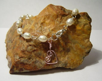 Pearly Heart - Freshwater Pearl and Bangle Bracelet