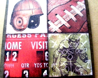 Wood Touch Down Football Picture Sign