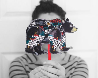 DIY Black Bear Articulated Doll / DIGITAL DOWNLOAD / Bear Puppet / Geometric / Woodland