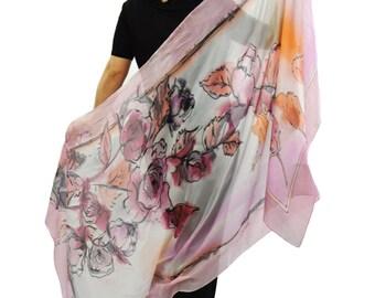 Rose Hand painted silk/Painted silk shawl/Exotic flowers/Roses handpainted/Soft silk/Hand painted silk shawl/Summer shawl/Luxury scarf/H0194