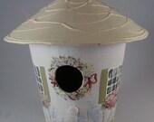 Vintage Round Birdhouse-Paper Mache  Hand Painted White Roof Decorative
