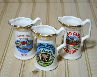 Vintage Mini Souvenir Pitcher Small Miniature Made in USA Great Smoky Mountains Galveston Texas Grand Canyon Arizona Collectible