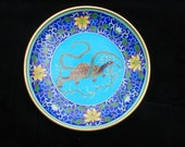 Collectible Vintage Blue Chinese Cloisonne plate decorative tortoise, snake, lotus design