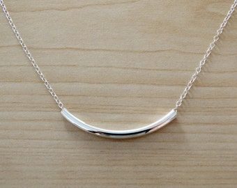 Silver Tube Necklace - Minimalist, Dainty, Simple Necklace - Sterling Silver