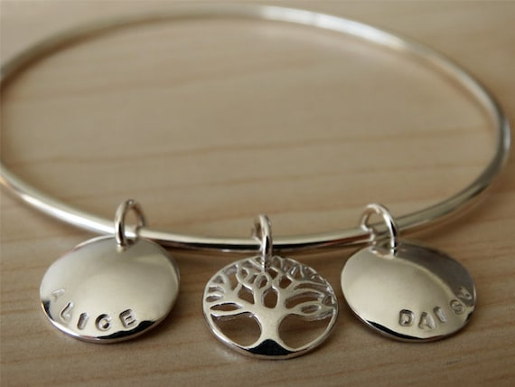 Family Tree Bangle - Personalised Sterling Silver Bracelet