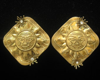 CLEARANCE Brass Celestial Vintage Earrings with Rhinestone Accents.  Sun Layered onto Large Brass Diagnal Square.  Studio Pieces.