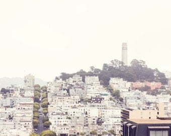 San Francisco Photography - Coit Tower - Skyline - Travel Photo - California - Bay Area - Fine Art Photography Print - Pastel Home Decor