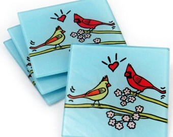 Cardinals Tempered Glass Coasters
