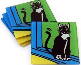 Tuxedo Cat/Black and White Cat/Cat /Kitten Tempered Glass Coasters