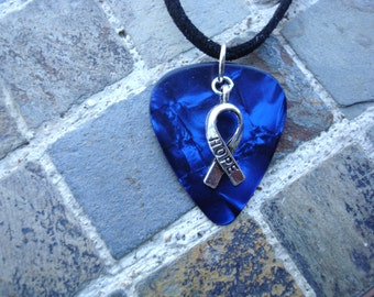 Hope Ribbon Guitar Pick Necklace, Blue: Colon Cancer, Rectal Cancer MARCH HOPE RIBBON