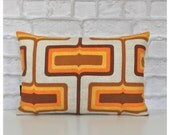 "Vintage 1970s Orange Psychedelic Fabric Lumba Cushion Cover 12"" x 18"""