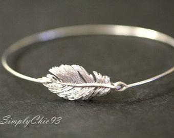 Silver Feather Bangle- Bracelet, Peacock, stackable bangles, Gold feather, bridal bracelet, wire bangle, Bridesmaids Gifts, gold bracelet