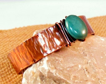 Copper cuff hand forged textured turquoise stone