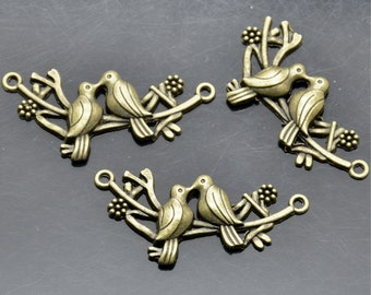 12 pcs Antique brass lovely birds Connector Charms Bracelet Connectors,Pendant,Findings,Charms