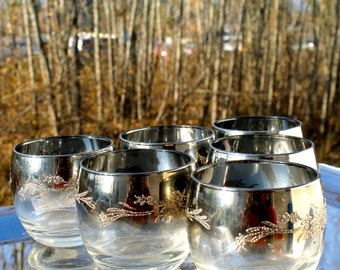 mad men bar cart dorothy thorpe roly poly glasses mid Century Modern Glassware 1960s Silver cocktail glasses Christmas Gift Ideas Dinnerware
