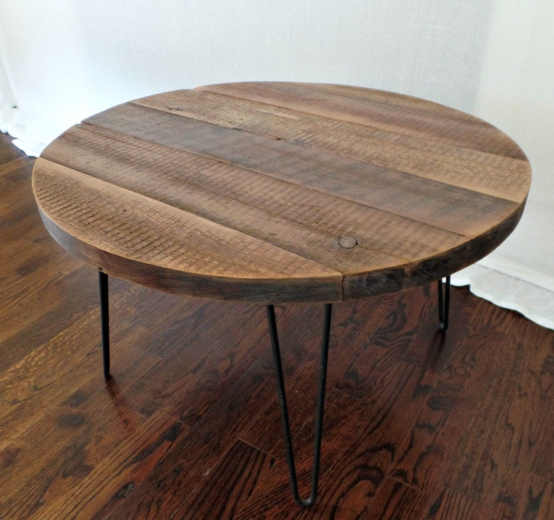 Round coffee table reclaimed wood furniture by SWDESIGNS74 on Etsy