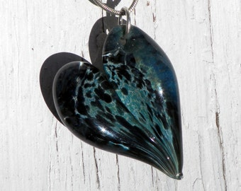 Glass Heart Pendant, Lampwork Glass Jewelry, Hand Blown Boro Heart Blue and Black