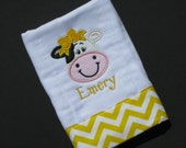 Personalized, appliqued burp cloth with precious girly cow with bow