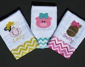 Personalized, appliqued burp cloth set of 3;  barnyard animals; farm animals; girly animals