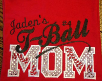 T-Ball Mom T-Shirt - Bling Sparkle Baseball Applique - Personalized Embroidered - Custom Team Shirt