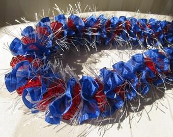 Hawaiian Ribbon Lei Lehua Red/White and Blue