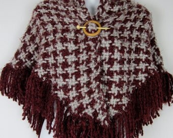 Loom knit Multicolor Shawl and wooden pin