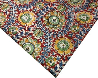 Handprinted Organic Dyed Kalamkari Cotton Fabric - Floral Print Medium Weight Fabric in Mustard, Blue, Red