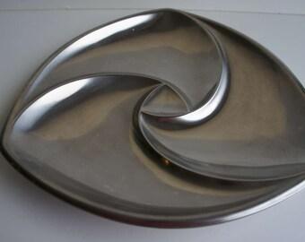 Striking Mid Century WMF Cromargan Stainless Steel Spiral Tray 1960s 1970s