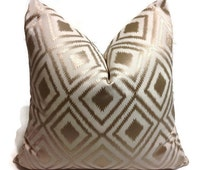 Pillow, Gold Pillows, Duralee Designer Pillow, Decorative  Pillow Cover, Designer Pillow,  Linen, Embroidery  Gold Pillow   Invisible Zipper