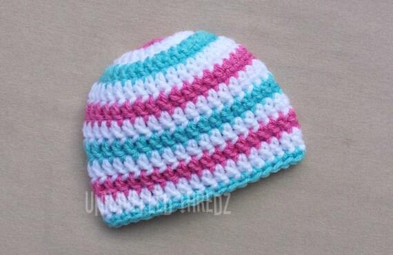Newborn Baby Hat Crochet Baby Hat Baby Beanie Pink White Blue Striped