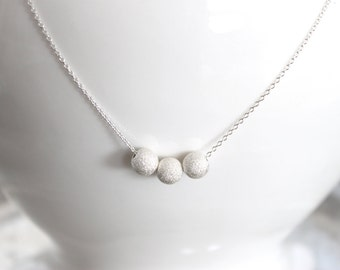 Sterling Silver Stardust Beaded Necklace - Simple Elegant Necklace, Winter Sparkle, Holiday, Bridal Anniversary, Ready to Ship Gift Under 30