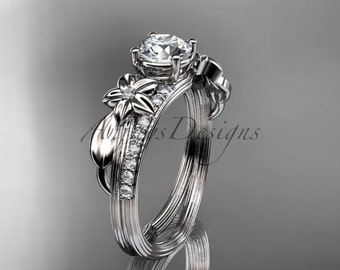 Platinum diamond leaf and vine wedding ring,engagement ring ADLR331