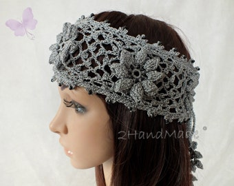 Grey Irish Lace 3D Crochet Headband Dreadlock Head wrap Boho Wooden Beaded Women Wedding Bridal Cotton Hair Snood