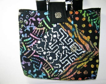Small Project Craft Scrappy Batik Fabric Tote with Blue Lining