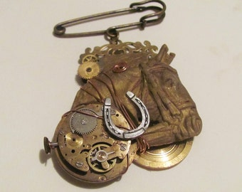 Horsepower - Steampunk Horse Brooch