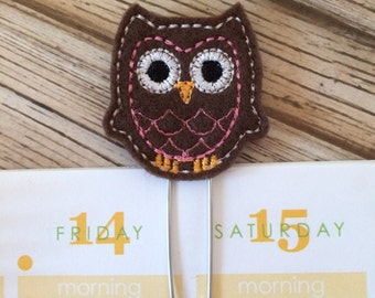 Owl - Brown - Planner Paperclips, Bookmarks, Fall Planner Page Marker, Page Clips, Planner Paper Clips, Planner Accessories, Planner Clip