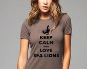 Keep Calm and Love Sea Lions T-Shirt - Soft Cotton T Shirts for Women, Men/Unisex, Kids