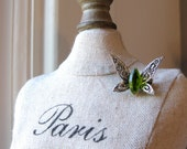 Peridot Pin Butterfly Brooch Faux Silver and Moss Green Etched Vintage Jewelery