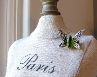Peridot Pin Butterfly Brooch Faux Silver and Forest Green Etched Vintage Jewelery Gift for Her