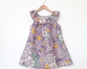 The 'Hepburn' Dress / Pale Lavender and Gold Floral / Ruffle Elastic Neckline