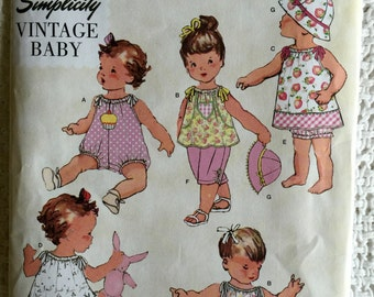 Simplicity Vintage Baby Babies Infants Romper Dress Panties Hat Sewing Pattern 1813 Size xxs xs s m l NB Uncut UC FF