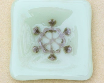 Small Pale Green with Taupe Snowflake Fused Glass Dish