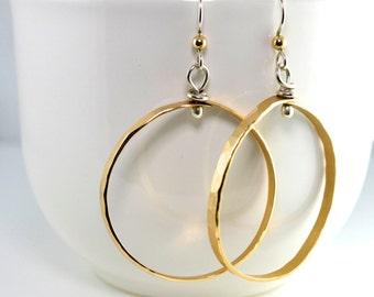 Gold Hoops, Hoops, Gold and Silver Hoops, Large Hoop Earrings, Large Hoops, 70's Inspired Jewelry, Statement Earrings
