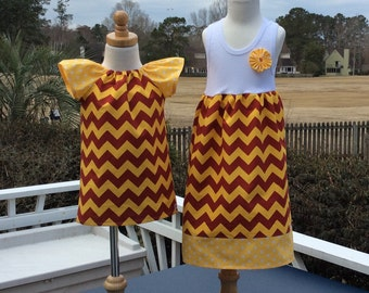 SiSTER SET for FSU.  girls tank style dress with coordinating flutter sleeve Phoebe.. Vibrant Amy Butler fabrics