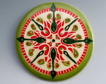 Ceramic Trivet: Handpainted and Carved Nautical Design, Pink, Green, and White Compass, Beautiful, Practical Kitchen Art