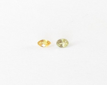 Genuine Yellow Sapphire, Heated Unheated, Oval Marquise Cut, Lot (2) of 0.46 carat