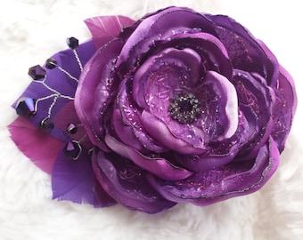 Amethyst dream fascinator, purple flower hair accessory, purple wedding flower, violet and plum feathered flower