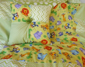 Baby Quilt, Baby Blanket, Handmade Baby Blanket, Crib Quilt, with Pillow, Baby Animal Print, Green Quilt, Baby Boy Quilt, Baby Girl,