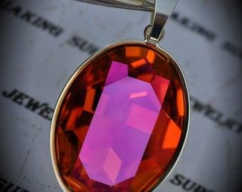Genuine Silver Plated Swarovski Crystal Astral Pink Oval Pendant
